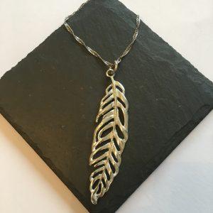 Feather Pendant, Handmade UK Modern English Pewter, Feather Necklace