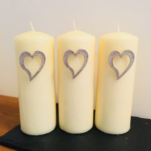 Heart Candle Decor (set of 3), Handmade UK Modern English Pewter, Heart Candle Pins