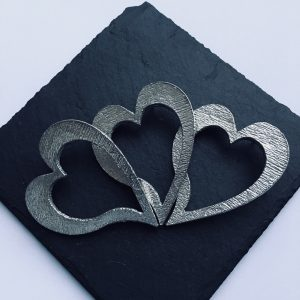 Heart Candle Decor, Handmade UK Modern English Pewter, Heart Candle Pin