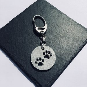 Paw Print Key ring, Paw print bag charm, Handmade UK Modern English Pewter, Paw Print keychain
