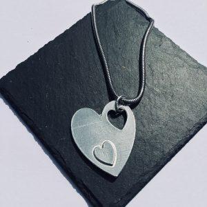 Fallen Heart Pendant, Handmade UK Modern English Pewter, Heart Necklace
