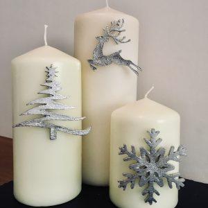 Christmas Candle Decor (Set of 3) Snowflake, Reindeer/Stag, Christmas Tree