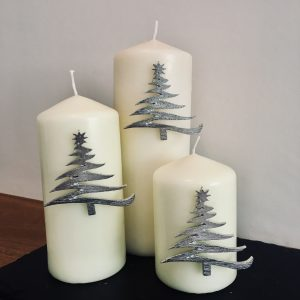 Christmas Tree Candle Decor (Set of 3), Handmade UK Modern English Pewter, Christmas Tree Candle Pins