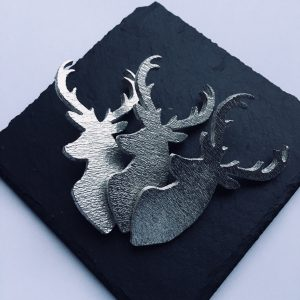 Stag Head Candle Decor (set of 3), Handmade UK Modern English Pewter, Stag Candle Pins