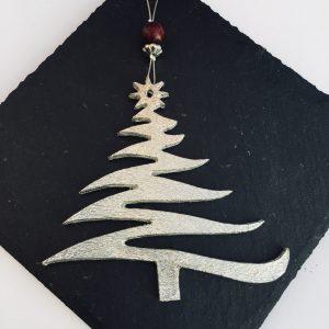 Hanging Christmas tree decoration, Pewter Christmas Decoration