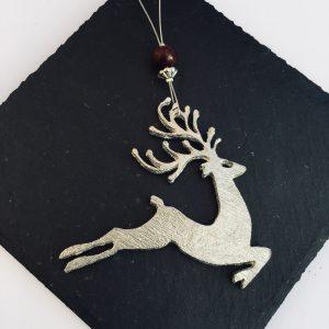 Reindeer Christmas Decoration, Hanging Stag Decoration, Pewter Christmas Decoration