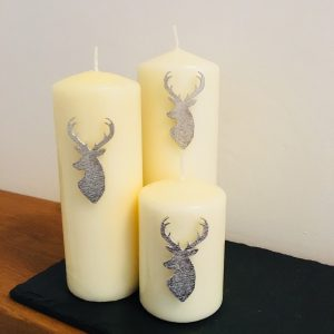 Stag Head Candle Decor – set of 3