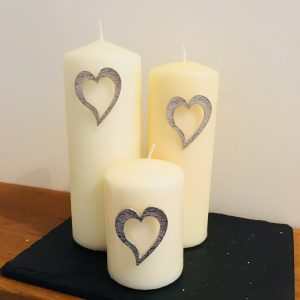 Heart Candle Pin Decor – Set of 3