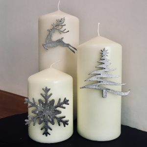 Christmas Candle Decor (Set of 3) Snowflake – Reindeer – Christmas Tree