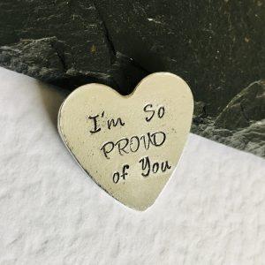 I'm So Proud of you – Personalised Heart Keepsake Token